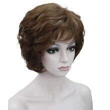 StrongBeauty נשים של פאות שחור/חום טבעי קצר מתולתל שיער סינטטי מלא פאה 18 צבע