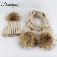 DANKEYISI Winter Warm Children Knitted Scarf Hat Set Crochet Hat And Scarf Solid Real Fur Pom