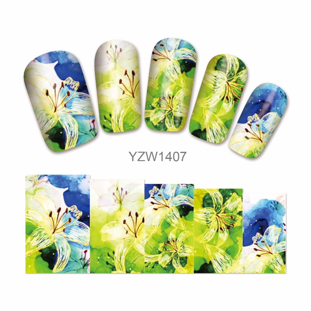 ≧ZKO 1 Sheet Flower Designs Water Decals Nail Stickers French Tips ...