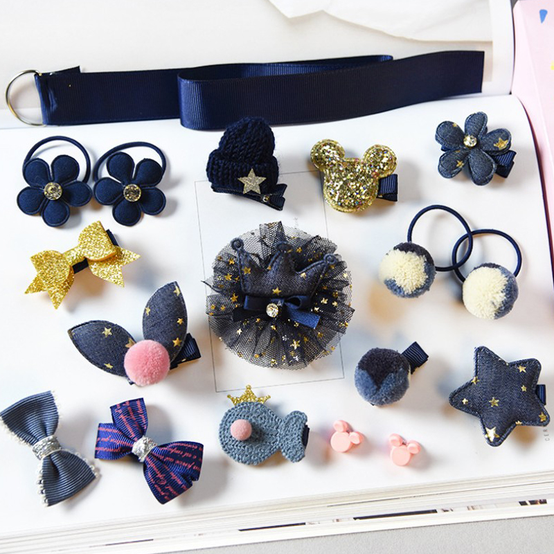 18pcs Head Wear Set Child Elastic Bow Knot Hair Clips Crown Rabbit Flower Barrettes Hairpins Kids Girls Xmas Gift Jewelry #3