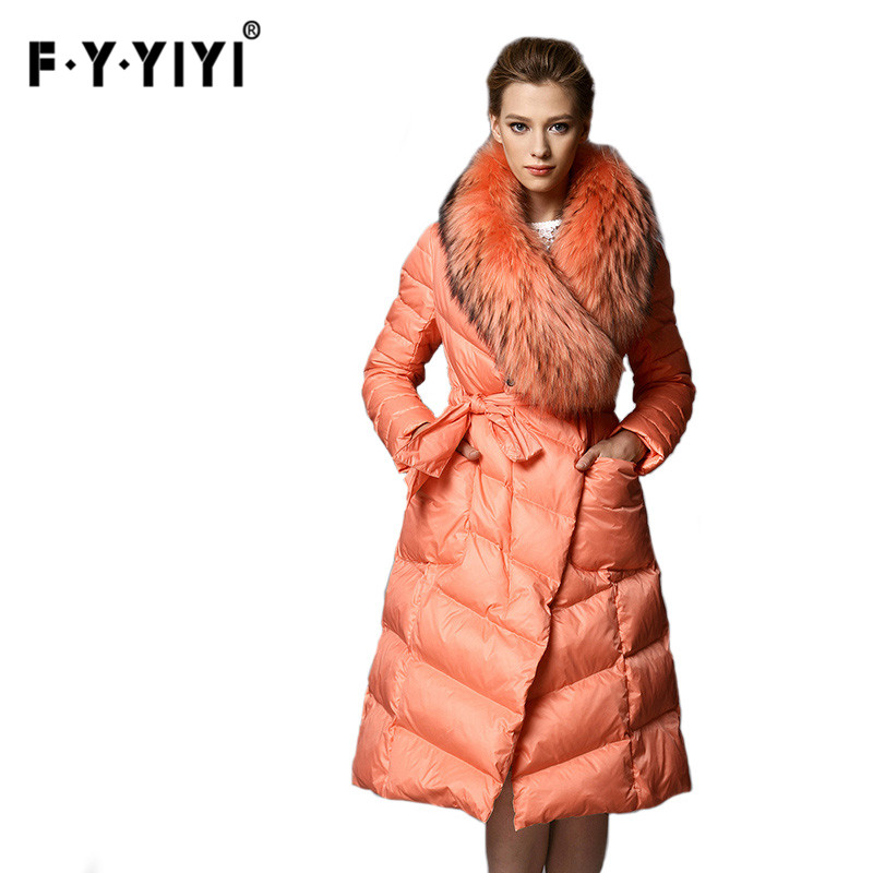 2016 Natural Large Racoon Fur Collar Luxury Long   Down     Coat   Thickening Female Warm Clothes High Quality Women's winter jacket