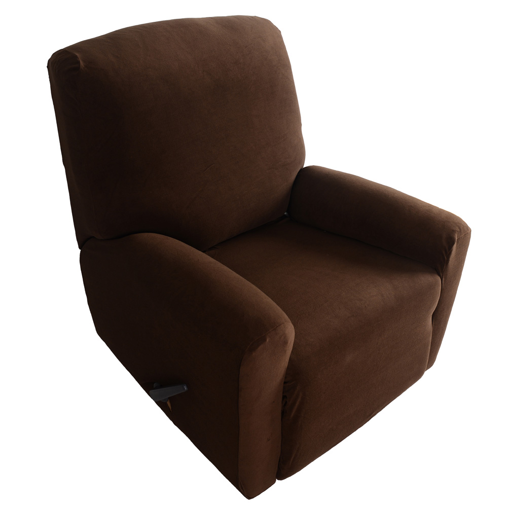 Household Elastic Recliner Cover Set High Quality Soft Polyester Spandex One Seater Recliner Cover Brown Living Room Decoration