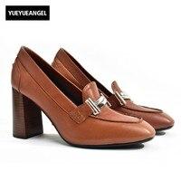 Office Lady Work Genuine Leather Block High Heels Shoes Women Italian Vintage Buckle Slip On Loafers Party Brown Black Pumps
