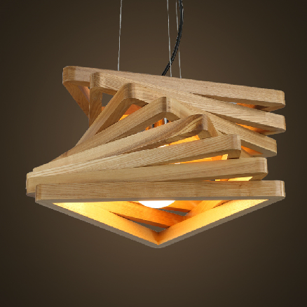 creative design light spiral wood pendant light wood dinning hall hanging lamps wooden rustic lighting fixture