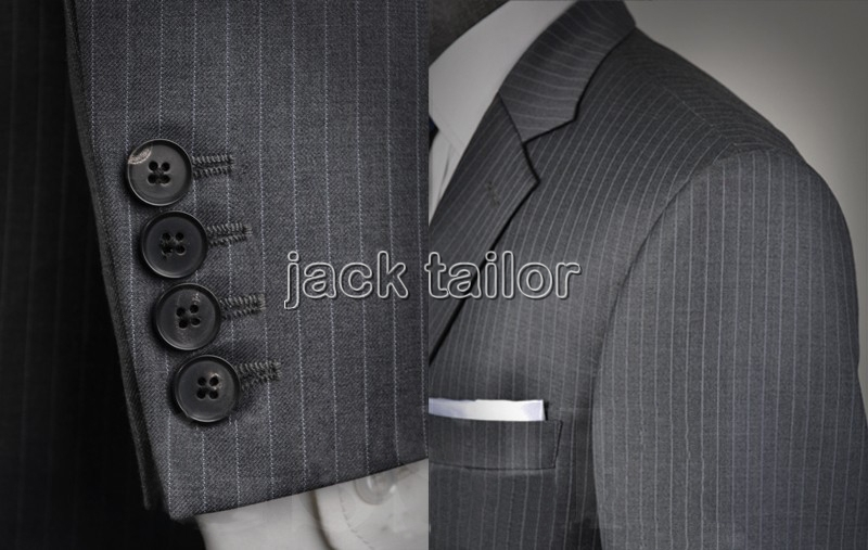 Free shipping 2015 Custom Made Italian Stylish Suit Gray Pinstripe ...