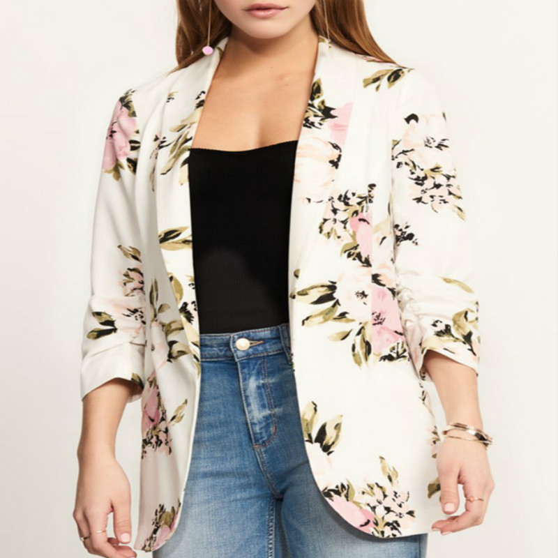 Spring Autumn Women Blazer Floral Print Long Sleeve Turn Notched Pockets Casual Coat Fashion Blazers Plus Size