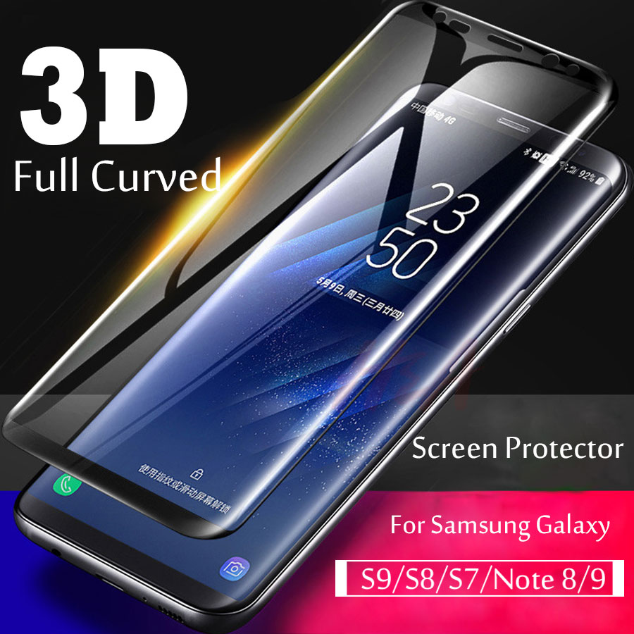 Screen Protector Film For Samsung Galaxy Note 8 9 S9 S8 Plus S7 Edge 3D Full Curved Tempered Glass For Samsung S7 S9 S8Plus Glas image