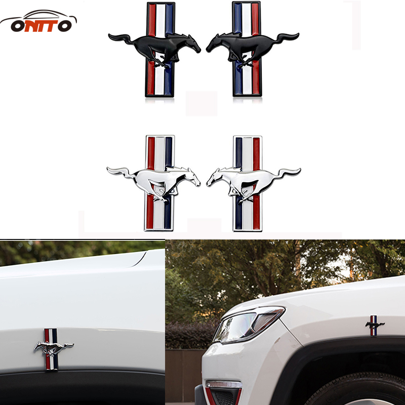10pcs/lot Mustang 3D Metal Running Horse Emblem Car Door Body Badge Sticker Decoration For trunk whole auto body emblem sticker