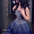 Rse197 yiaibridal elegante bling bling de plata rebordear azul real vestido de noche vestidos de fiesta