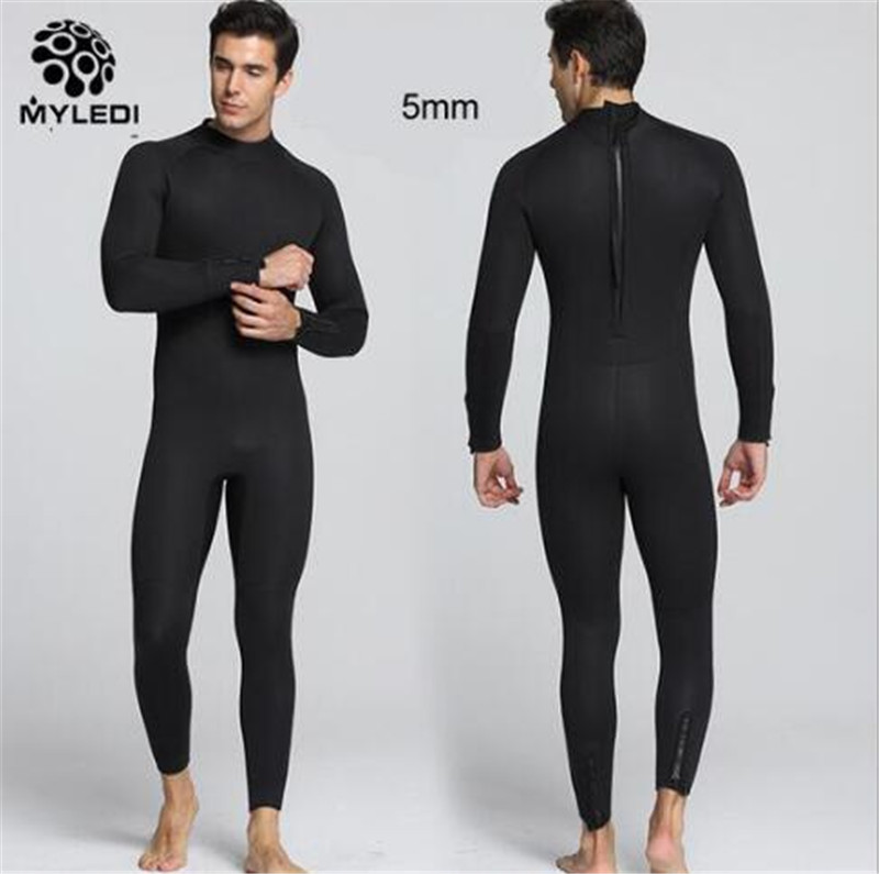 MYLEGEND Warm Men 5MM Thick Neoprene Full Body Swimsuit Solid Scuba Diving Suits Surfing Sailing Spearfishing Wetsuit