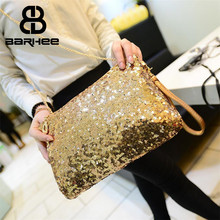 Фотография BARHEE Sparkle Women Clutch Handbag Party Club Fashion Ladies Shoulder Bag Blingbling Gold Silver Small Sling Bag Chains Crossbo