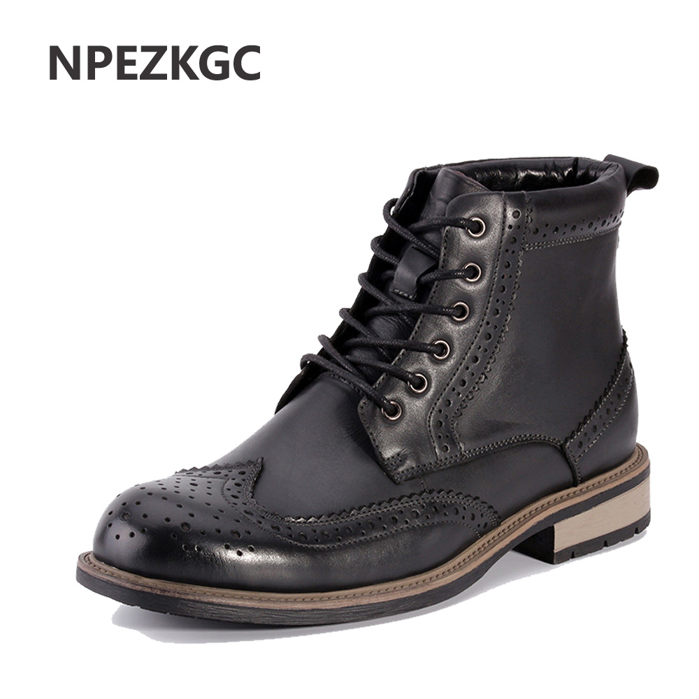 NPEZKGC Brand New Genuine Leather Men Shoes Spring Autumn Men Boots Fashion Carved Male Lace-UP Shoes High-Cut Men Casual Shoes benefit precisely my brow pencil карандаш для разделения бровей 03 medium коричневый