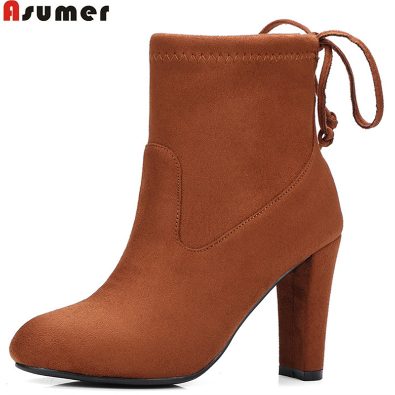 ASUMER fashion new arrive women boots flock autumn winter cross tied ladies boots super high round toe ankle boots big size34-43 ouqinvshen round toe lace up women boots fashion mixed colors women ankle boots new winter short plush cross tied ladies boots