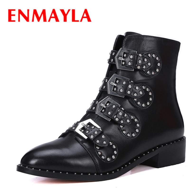 ENMAYLA Winter Low Heels Ankle Boots for Women High Quality Shoes Woman Buckle Tassel Genuine leather Boots Pointed toe Boots enmayla autumn winter chelsea ankle boots for women faux suede square toe high heels shoes woman chunky heels boots khaki black