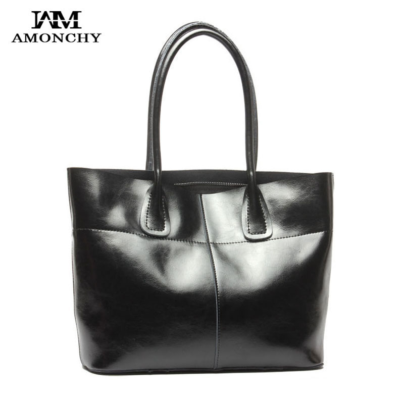 AMONCHY Hot Sale Ladies Genuine Leather Handbags Luxury Natural Skin Women Shoulder Bags Imported Cowhide Tote Bag Bolsas Mujer hot sale women satchel bag genuine leather handbag famous brand fashion tote handbags crazy horse cowhide ladies shoulder bags