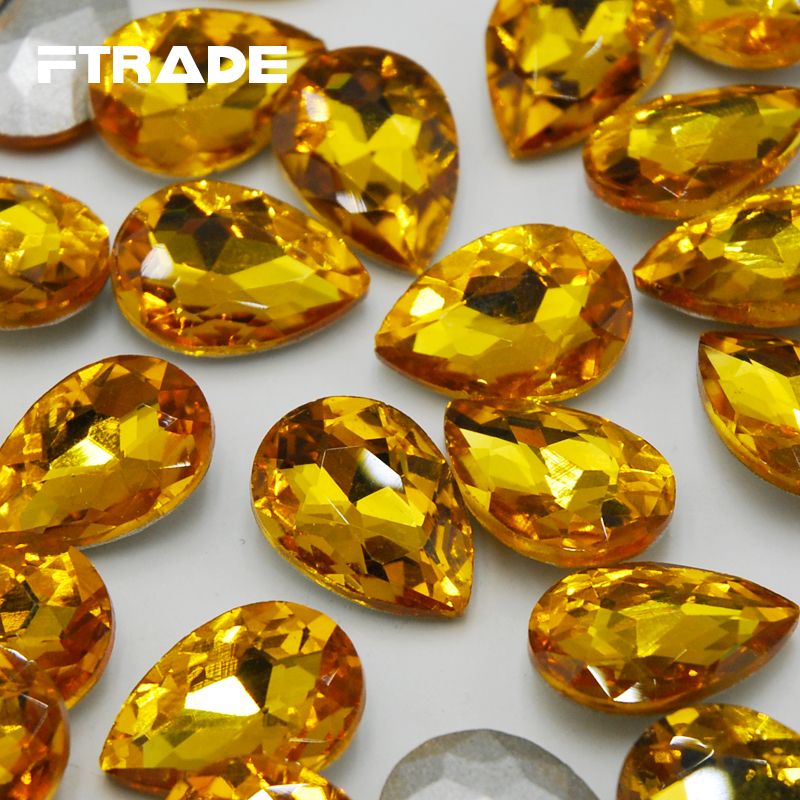 6 Sizes Topaz Color Teardrop Fancy Stone Pointed Back Droplet Jewelry Beads Glass  4x6mm~20x30mm No Holes Crystal Free shipping-in Rhinestones from Home ... 902e876840f2