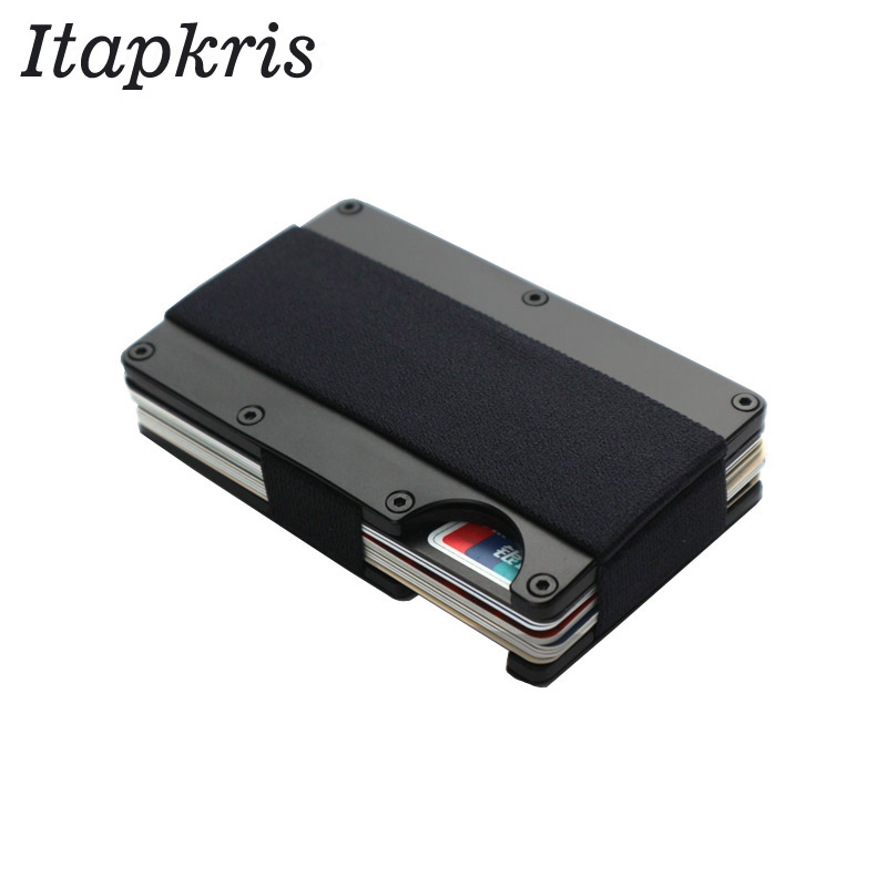 New Man Pocket Wallet Aluminum Bank Credit Card Holder Portable Rfid Blocking Porte Badge Travel Organization Holder