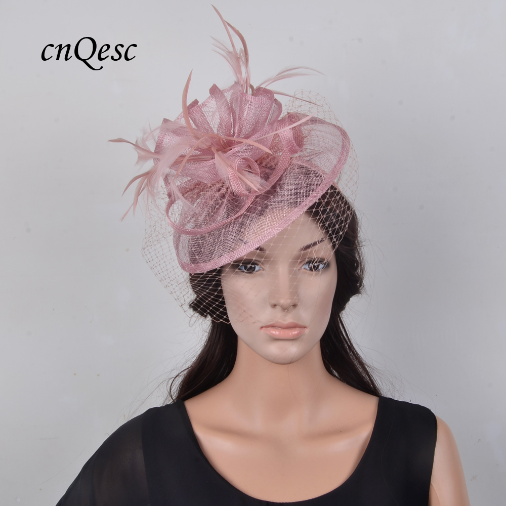 New arrival Sinamay fascinator straw hat fedora with feathers and veiling for Kentucky Derby church wedding
