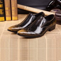 Vintage Fashion Men S Brogue Shoes Business Dress Men Casual Shoes Genuine Leather Oxfords Man Pointed