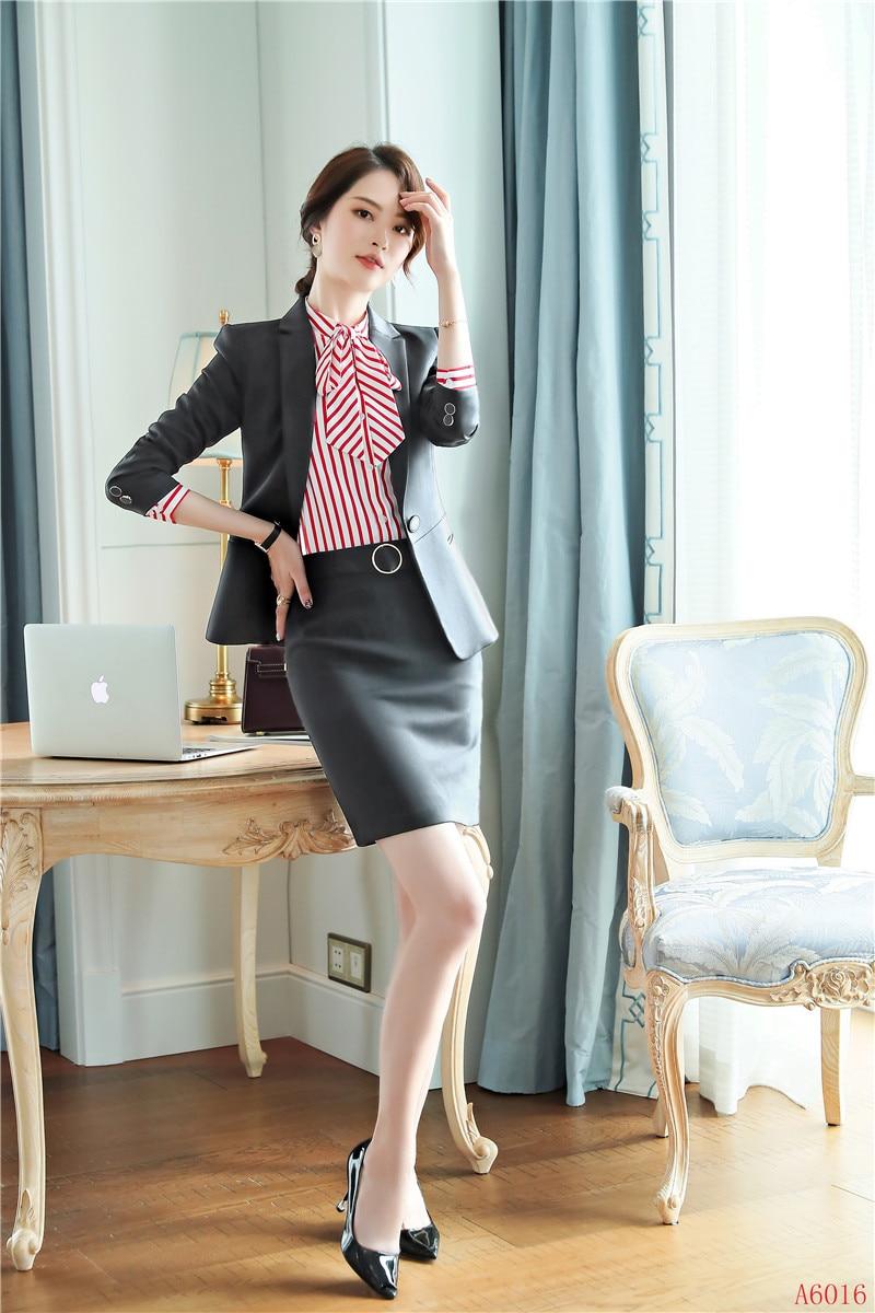 D'affaires Bureau Noir Et Costumes Avec Femmes marine Haute Uniforme De Work La Wear Marine Jupe gris Dames Styles Bleu Ensembles Blazer Qualité Formelle Veste w1qWAXa