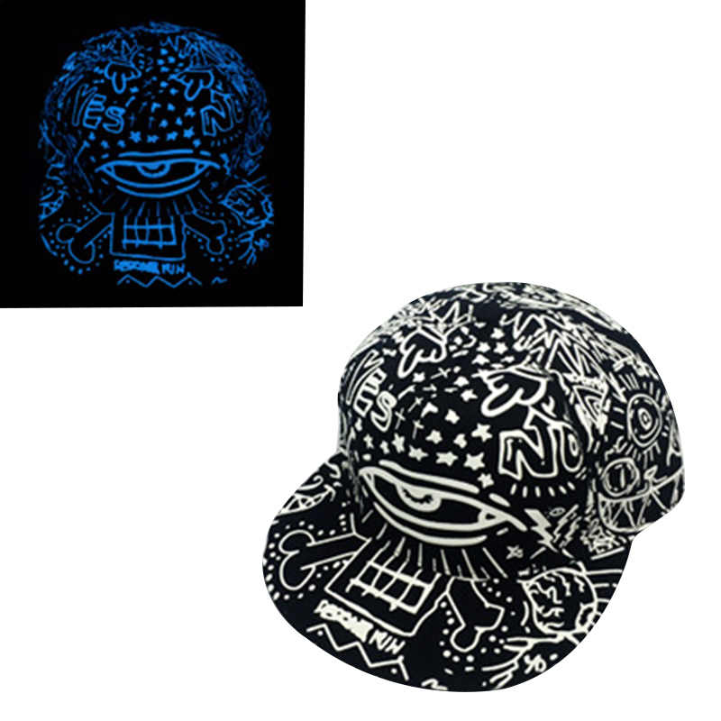 4fa6b84eb21 ... Blue Fluorescent Baseball Caps Print Hip Hop Cap Casquette for Women  Men Sports Black Snapback Caps ...
