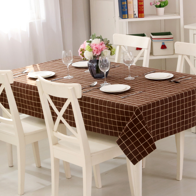 profundo gris cubierta de tabla mantel barato y durable tela de lino a cuadros amarillo adecuado