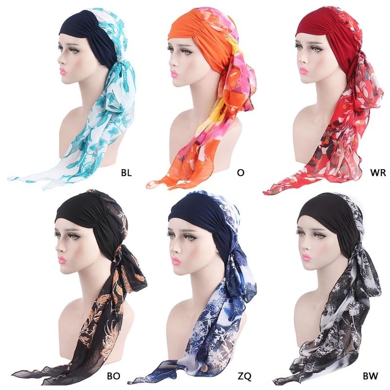 6e3f9aa08b98 KLV Femmes En Mousseline de Soie Chimio Chapeau Turban Cancer Foulard Wrap  Cheveux Longs Bandana Beanie
