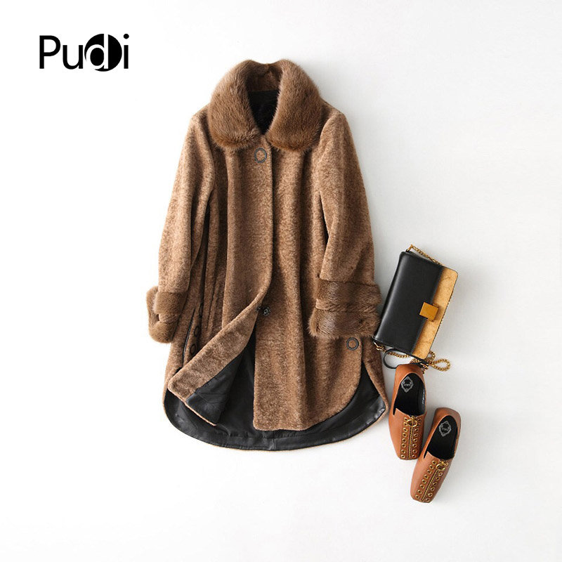 PUDI A17068 women s winter warm genuine mink fur winter warm coat lady Real wool Long