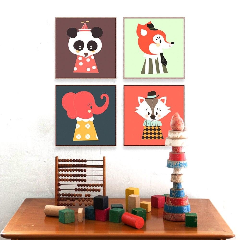 Modern Kawaii Hayvan Kafa Kedi Panda Sanat Bask Posteri Karikat