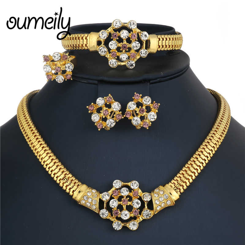 OUMEILY Ethiopian Wedding Jewelry Sets Gold Color African Indian Jewelry Set Bridal Crystal Costume Jewellery Turkish Jewelry