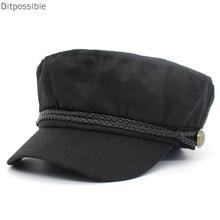 Ditpossible nuevo algodón de lino fino militar gorras para las mujeres  Vintage marinero Gorro sombrero femenino c479b693b41