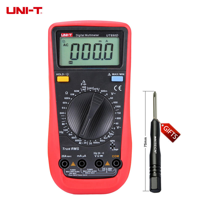 UNI-T UT890D Digital Multimeter True RMS AC/DC Voltage Current Resistance Testers Free shipping ad637 precision broadband ac true rms peak voltage detection module