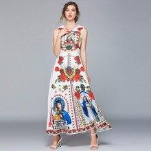 European style retro print sleeveless dress New 2019 summer runwas vintage A147