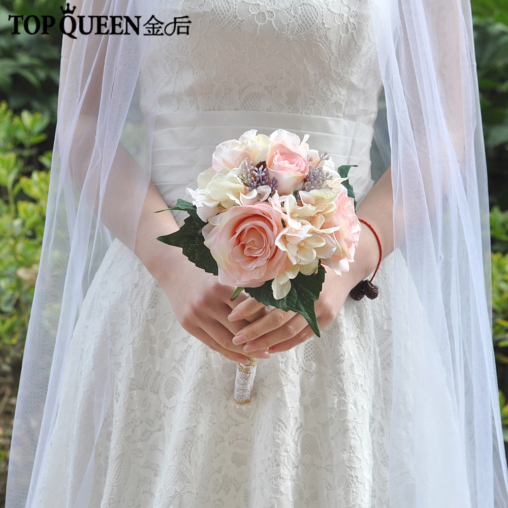 Topqueen F8 2018 Wedding Bouquet Bridal Holding Flowers Champagne