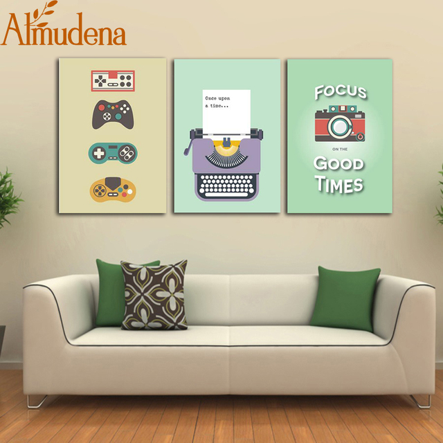 US $5 45 45% OFF|ALMUDENA Nordic Canvas Wall Art Picture Retro Typewriter  Camera Painting Modern Home Decoration Living room Prints Unframed-in