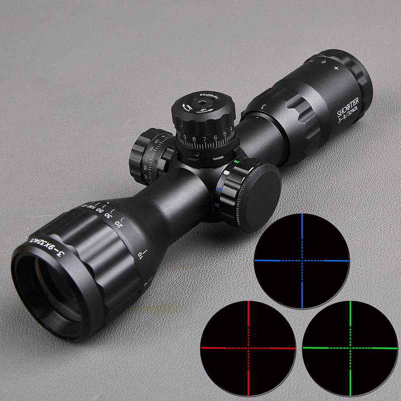 SHOOTER 3-9x32 AOL Tactical Hunting Scopes Red and Green Dot Illuminated Optics Scope Mil-dot Sight Rifle Scope tactial qd release rifle scope 3 9x32 1maol mil dot hunting riflescope with sun shade tactical optical sight tube equipment