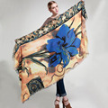 Luxury brand  Cashmere Scarf women 2016 Fashion Temperament More blue Flowers Shawls  Winter  Warm Scarf Pashmina Gift