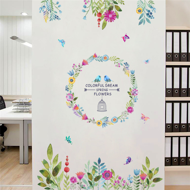 dd869d945 colorful dream spring flowers wall stickers for living room TV background  birds butterfly wall art decals
