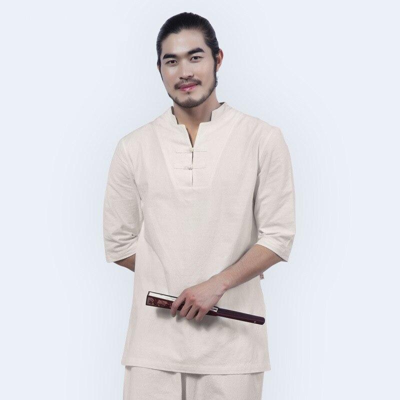 Uomini Vestiti di Yoga Set di Cotone Meditazione Abbigliamento Camicia e Pantaloni 2 pz/set Vestito Cinese