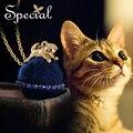 Special nueva moda chapado en oro collares largos y colgantes maxi collar del gato encantador animal encantador de la joyería regalos para mujeres s1630n