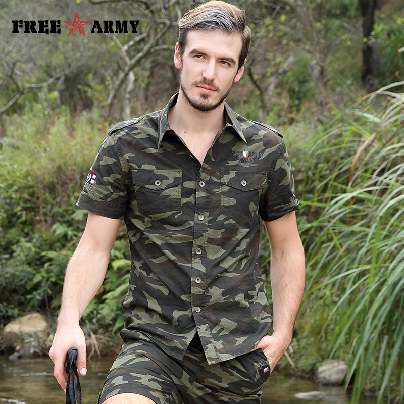 Gratis Army Brand Hot Herre Shirts Fashion 2017 Summer Short Sleeves - Herretøj - Foto 4