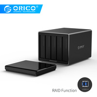 ORICO Tool Free USB3.0 to SATA 5 Bay 5Gbps RAID Hard Drive Docking Station with 12V 6.5A Power Adapter Support UASP HDD Case