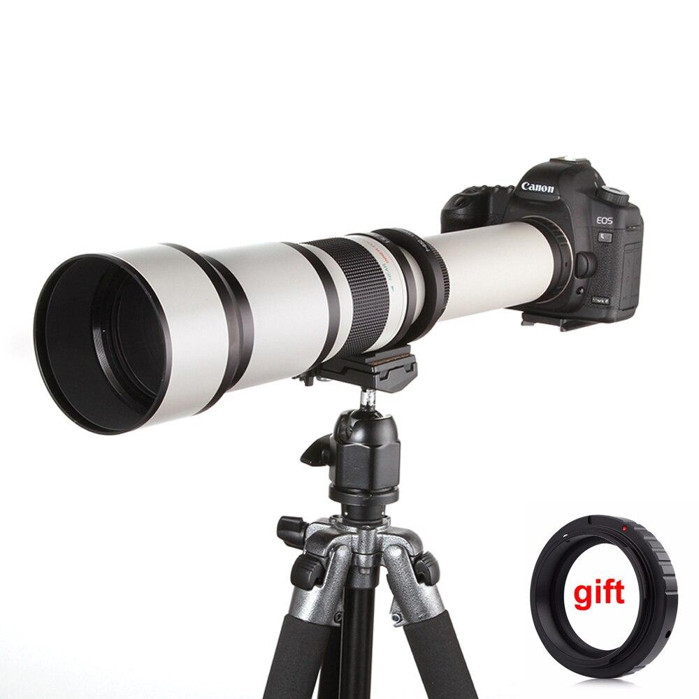 650-1300mm F8.0-16 Super Téléobjectif Zoom Manuel Lentille + T2 Adaptateur pour DSLR Canon Nikon Pentax Olympus Sony A6300 A7 A7RII A7S II