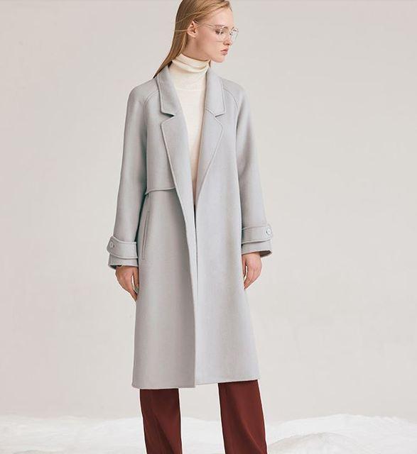 65bf48a4d718c 2017 de Invierno abrigo de lana Solapa de la capa larga de las mujeres maxi  Cuello