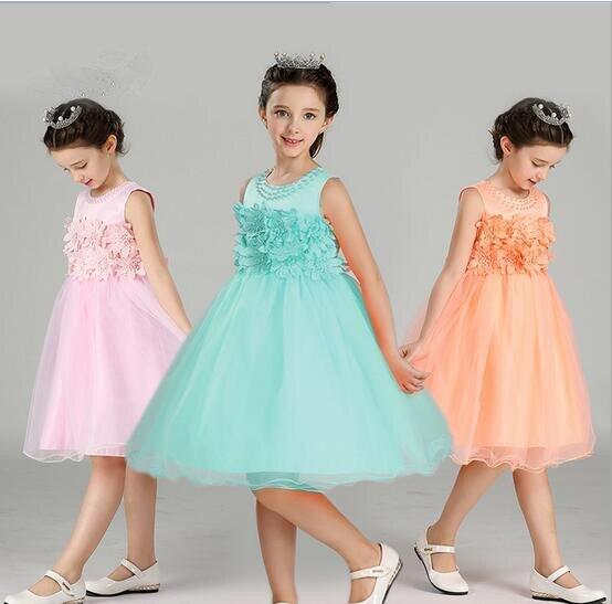 Girl Flowers Wedding Dress European Kids Dress Cute Baby Girl Ball ...