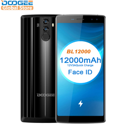 Original DOOGEE BL12000 MTK6750T Octa Core 6.0''18:9 FHD+ 12000mAh 4GB RAM 32GB ROM Quad Camera 16.0MP Android 7.0 Smartphone