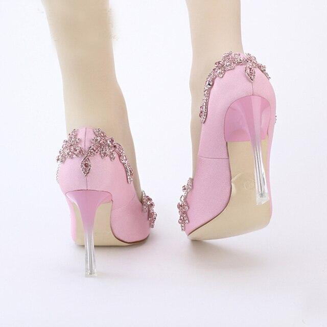 9cm rose Satin chaussures à talons hauts bout pointu mariage chaussures de mariée cristal clair talon Envening fête bal taille 34-42