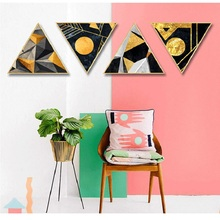 Nordic blue story restaurant decoration hotel abstract painting home mural kitchen Gold foil geometry