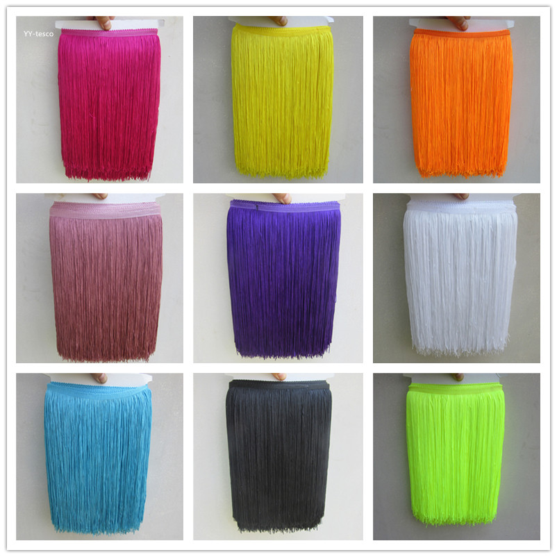 YY-tesco 10 Yard/lot Hot Sale 30CM Long Polyester Tassel African Lace Fringe Trim For Sew Latin Dress Garment Accessories Ribbon