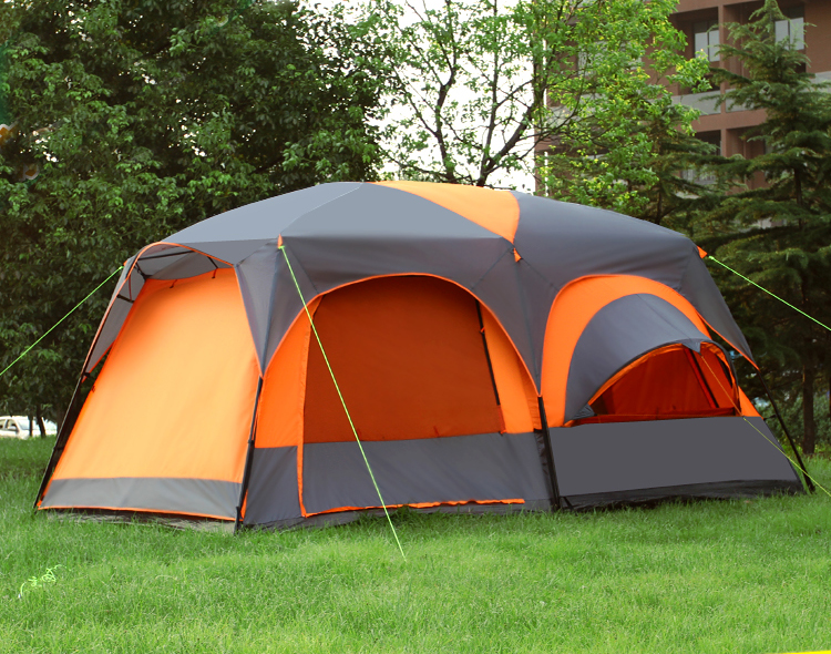One Hall Two Bedroom 5-8 person Ultralarge Double Layer High Quality Waterproof Windproof Camping Tent